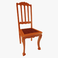 carved chair wood 3d model