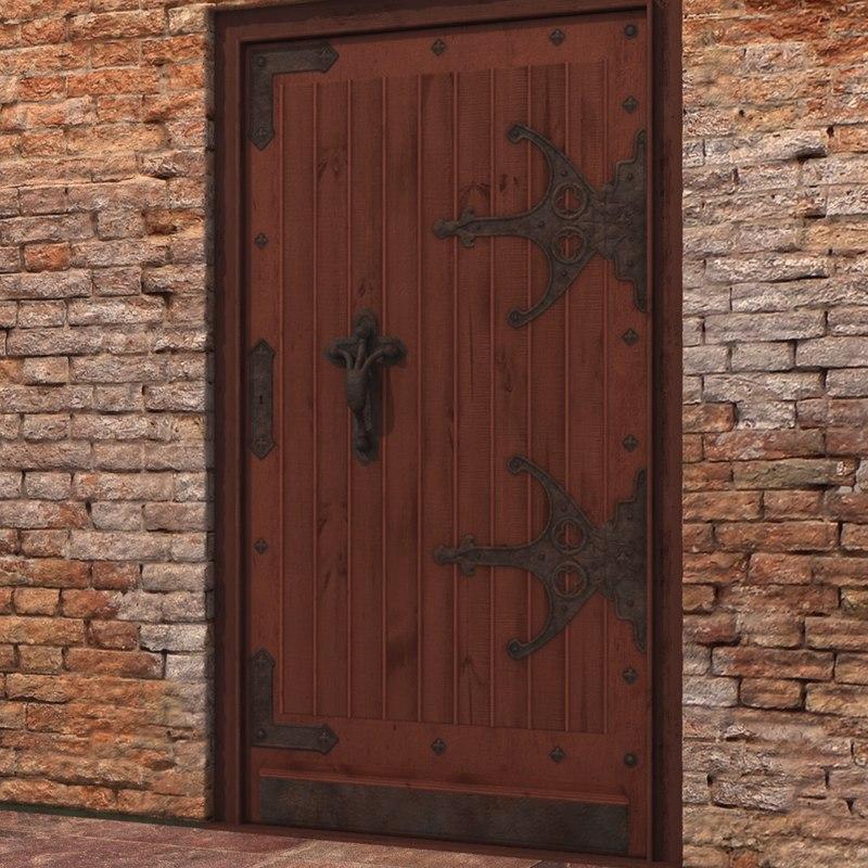 3d model old wood door