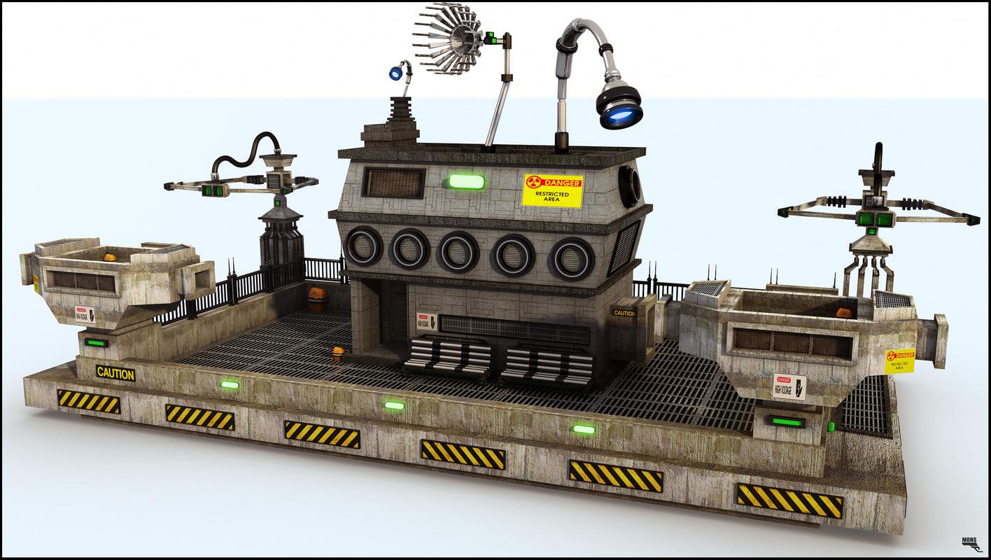 3d sci-fi house model