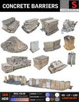 concrete barricade pack 13 3d model