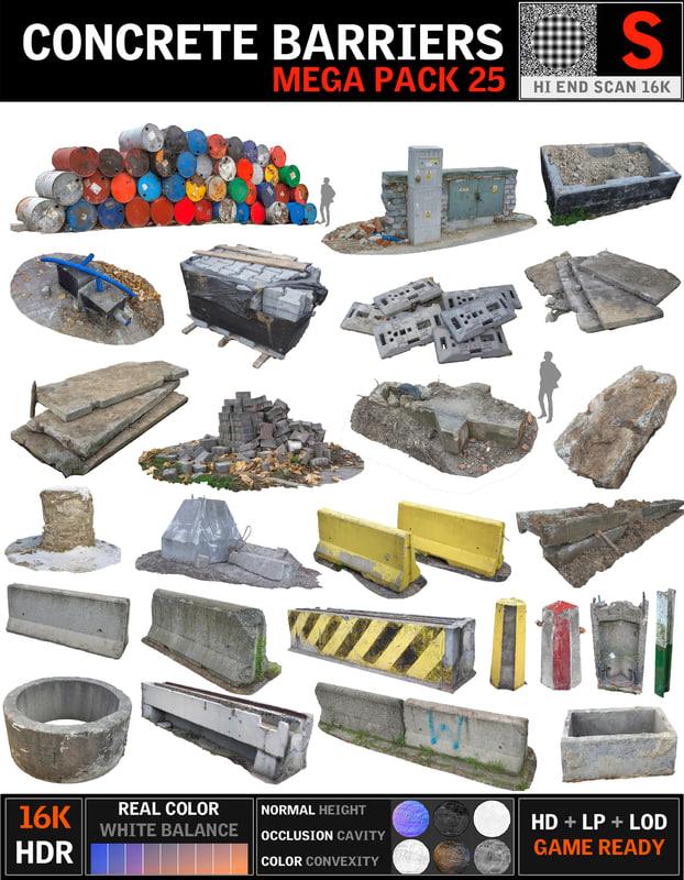 obj concrete barricade pack 25