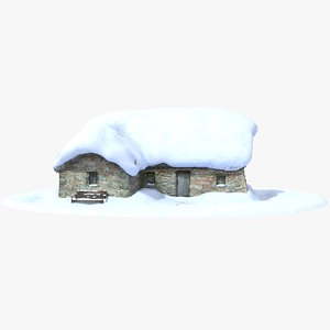 3d model of winter stone house