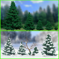 3d winter fir trees bush