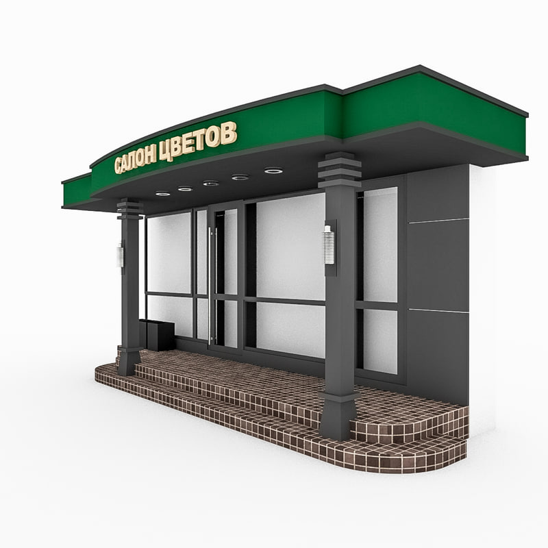 3d model facade boutique shop