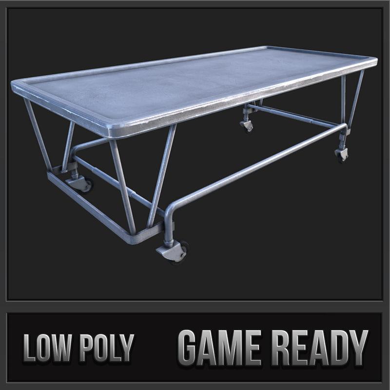 3d model old hospital steel gurney bed
