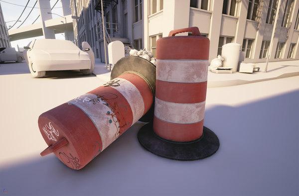 photorealistic traffic barrel 3d max