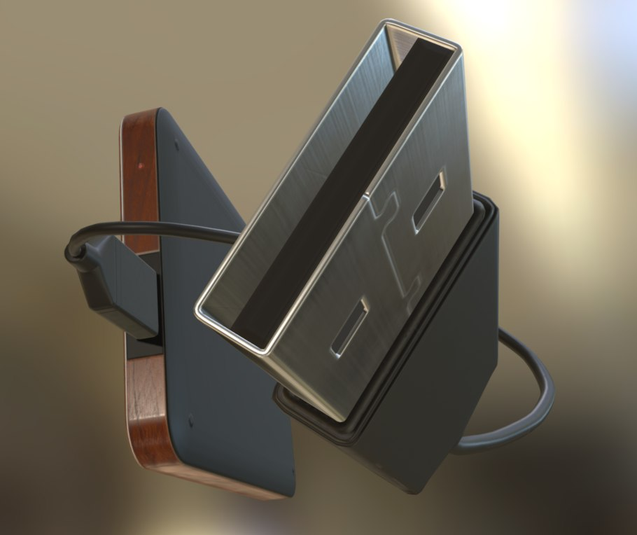 external hdd usb cable 3d model
