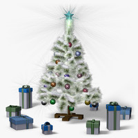 mini christmas tree snow 3d model