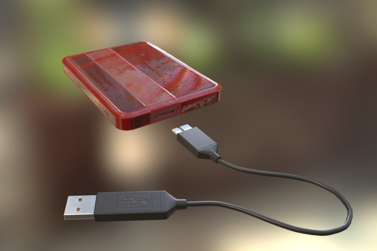 external hdd usb cable 3d obj