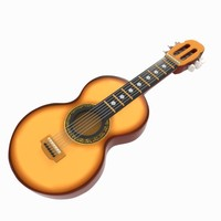 3d cartoon guitar toon