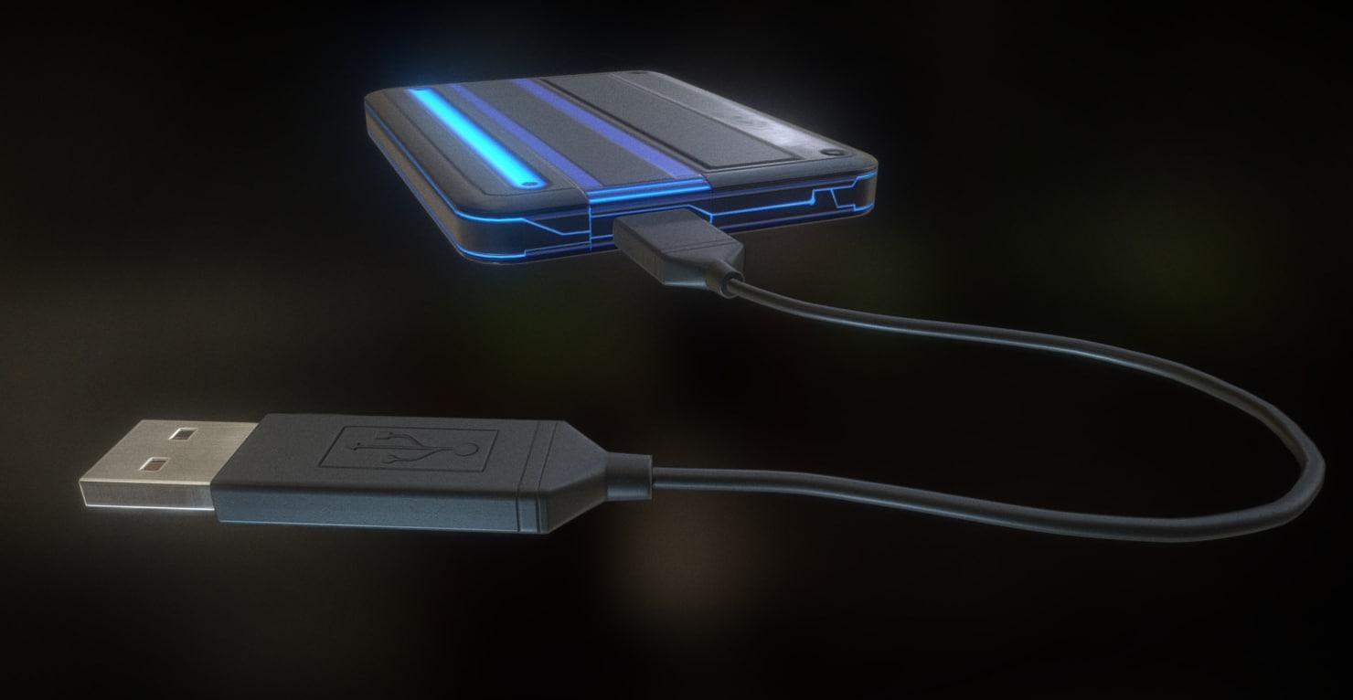 3d model external hdd usb cable