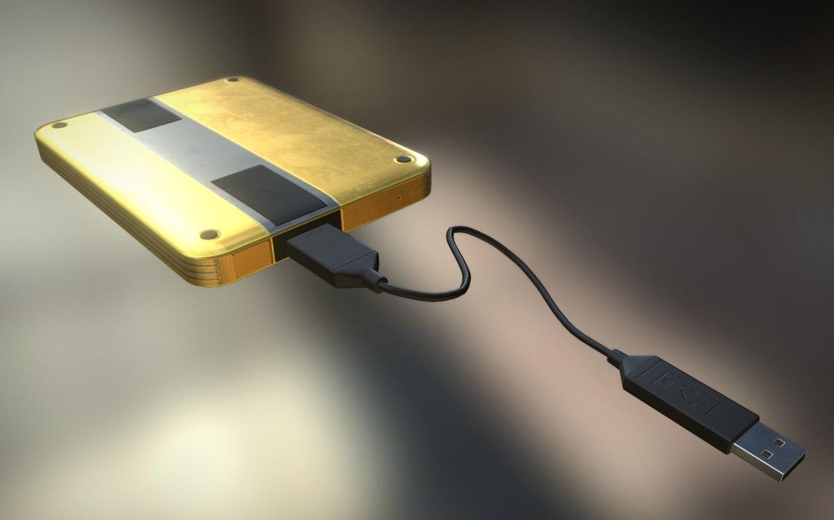 3d external hdd usb cable model