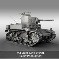 - m3 stuart light tank 3d model
