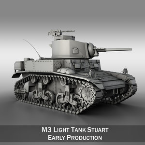 - m3 stuart light tank 3d model
