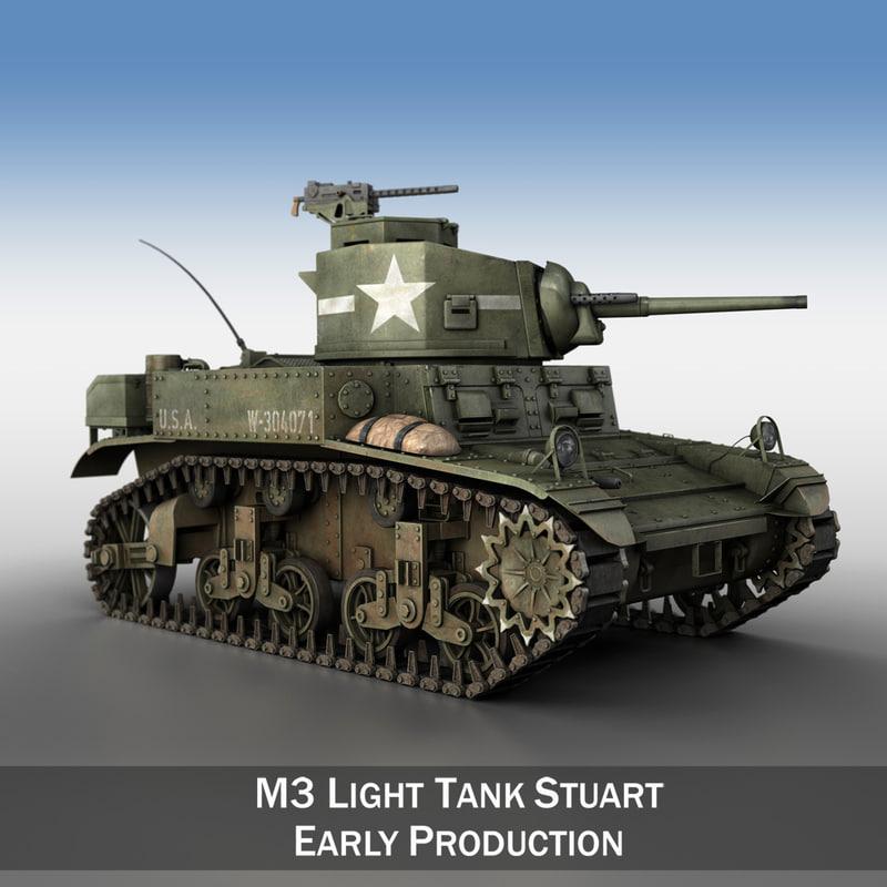 3d model light tank - m3
