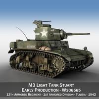 light tank - m3 3d model