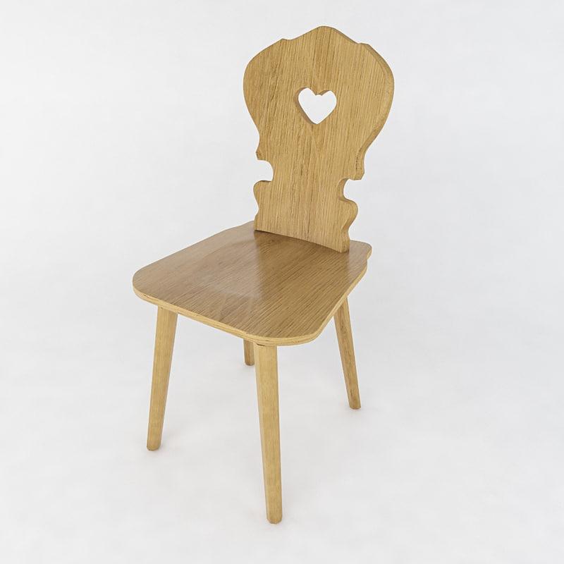 stool wood vienna 3d max