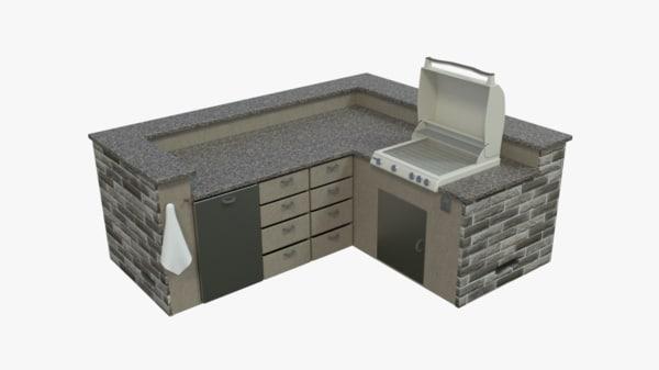 3d model kitchen island grill