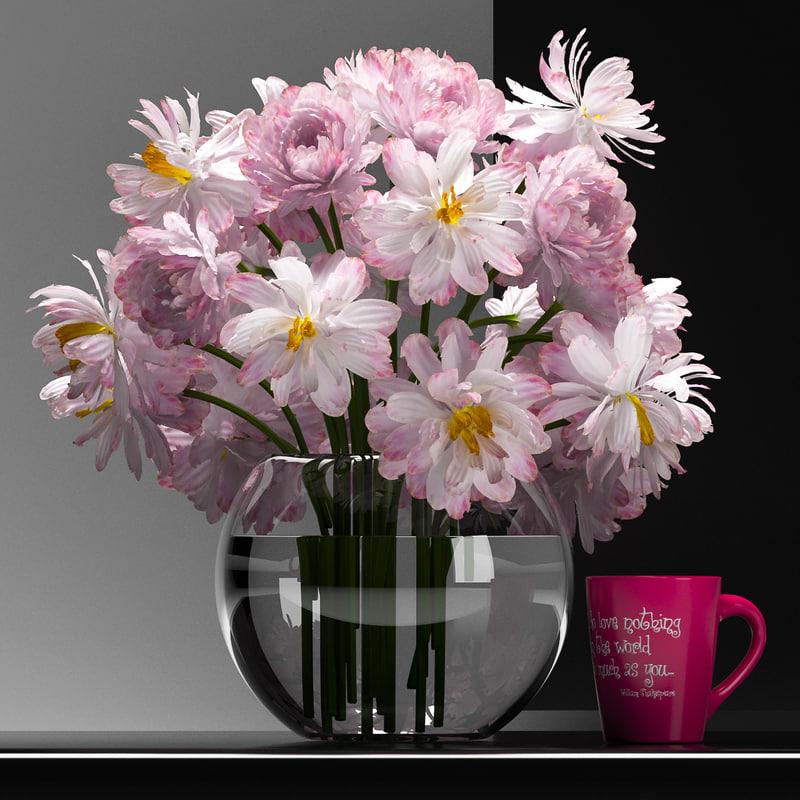 obj flowers vase set 18
