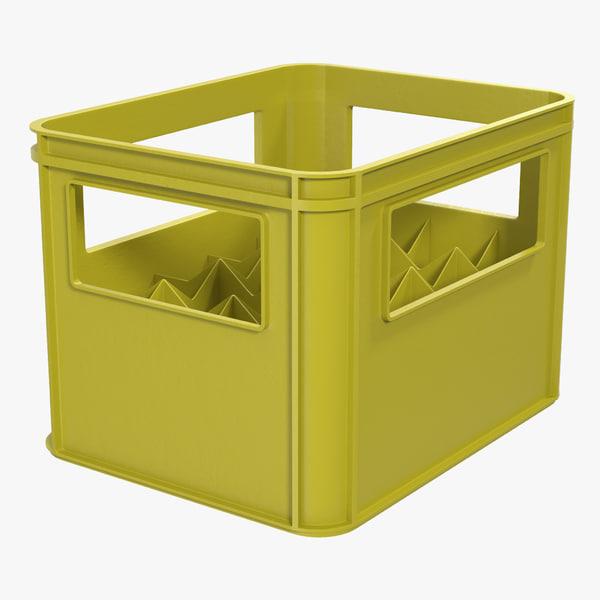 3d plastic bottle crates yellow model