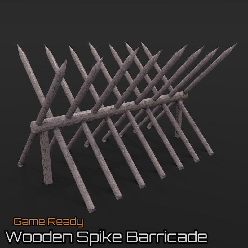 3d model ready wooden spike barricade