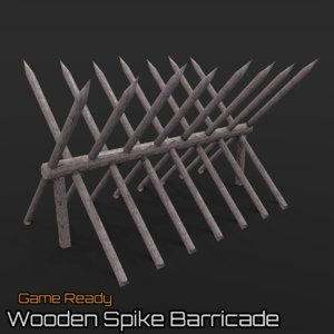 3d model ready wooden spike barricade