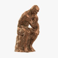 old copper sculpture rodin thinker 3d model