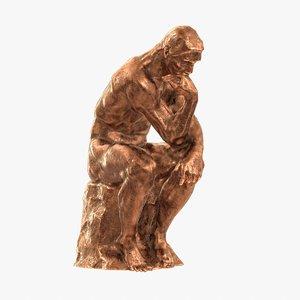 sculpture rodin thinker 3d obj