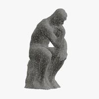 old copper sculpture rodin thinker 3d obj