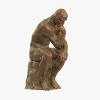 old sculpture rodin thinker 3d obj