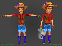 woman farmer polys 3d max
