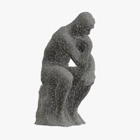 3d obj sculpture rodin thinker