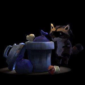 3d model raccoon trash bin