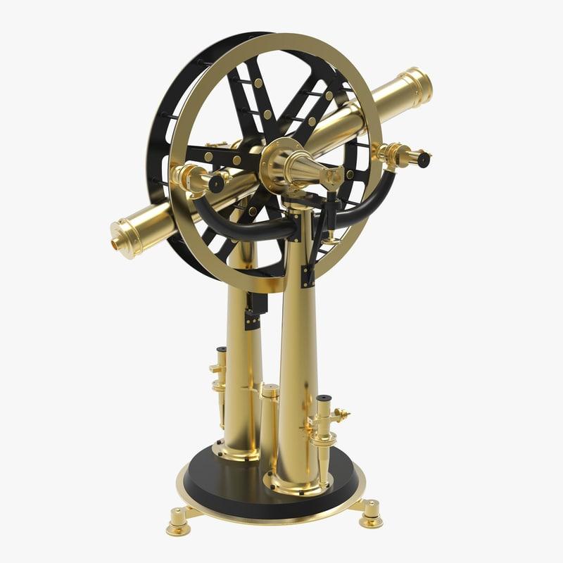 antique altitude azimuth instrument 3d model