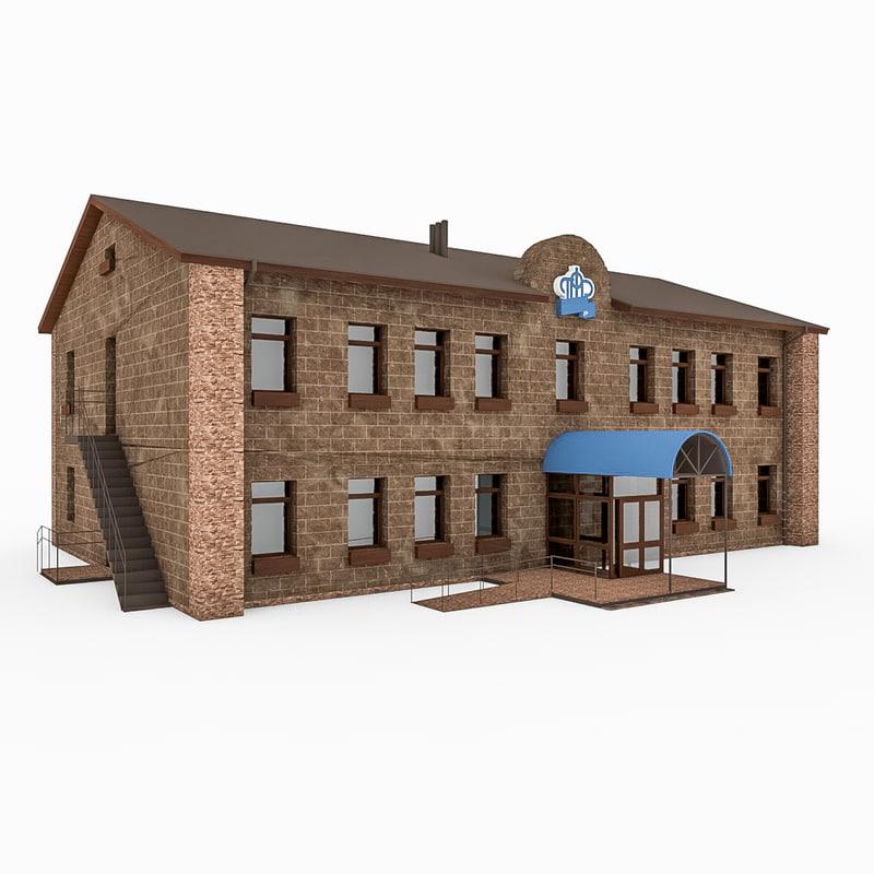 3d city office building model