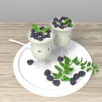 Milky  dessert with blackberries
