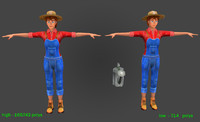 3d model woman farmer polys