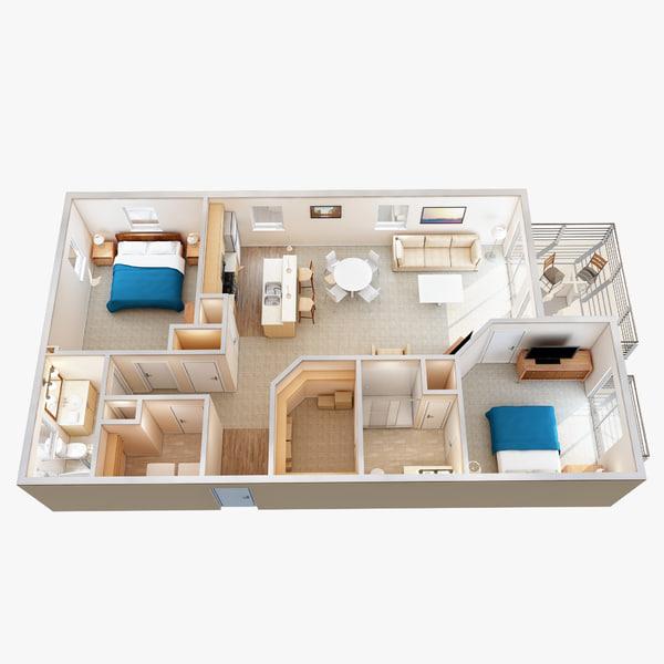 3d lighting floor plan scene