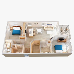 3d lighting floor plan scene