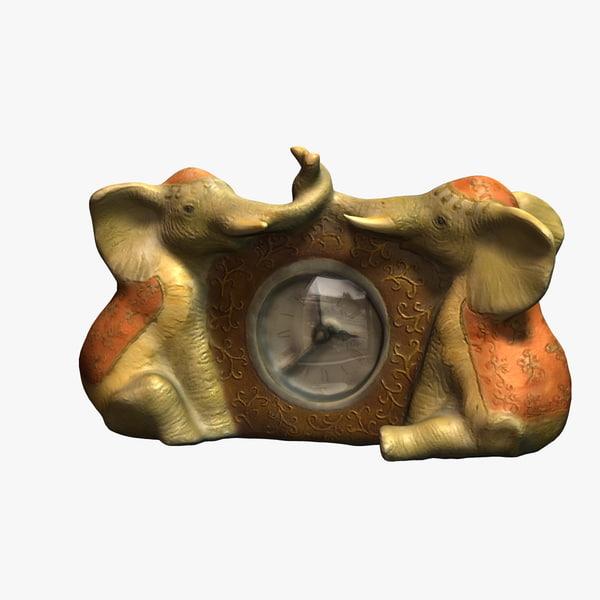 clock elephants 3d model