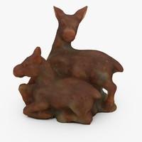 3d c4d chinese deer statuette
