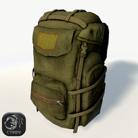 Military backpack low poly