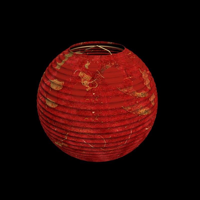 3d model chinesered paper lantern