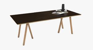 rectangular wooden table obj
