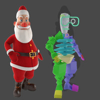 santa claus cartoon character 3d model