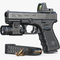 Gun Glock 19 Gen 4, Scope, Flashlight