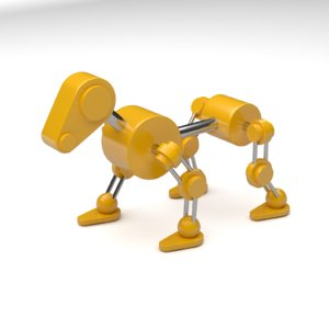 yellow robot dog animation 3d model