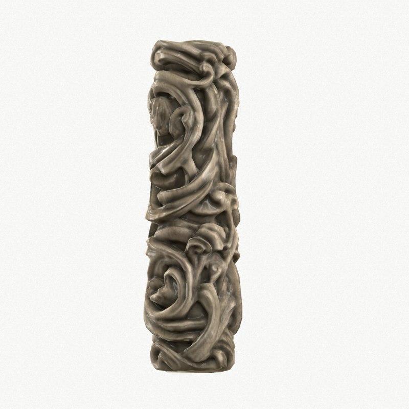 medieval column wood 3d model