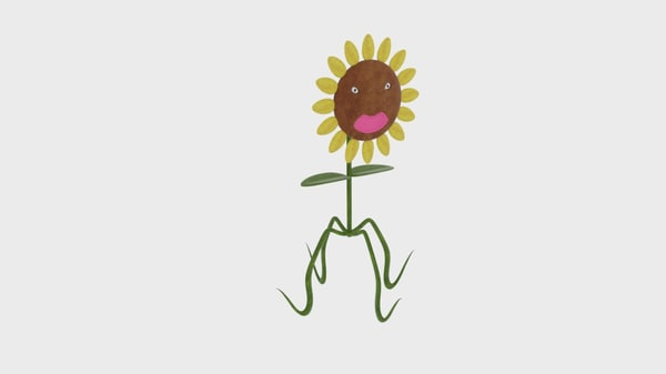 3d sunflower character