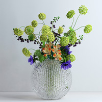 Viburnum, anemones, alstromeria and fritilaria persica